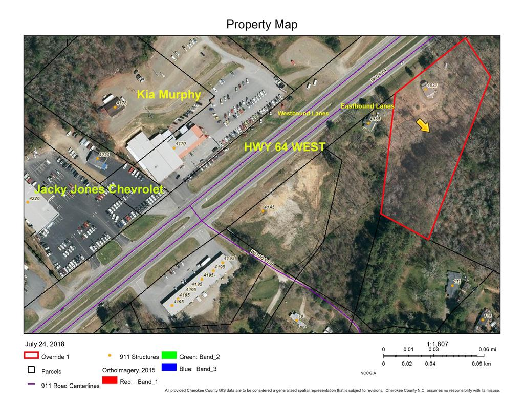 3.5 acres gentle rolling commercial property with small older home on site. Many options  exist with this property. The home could be remodeled for a small office/shop, or the tract could be used for many other commercial purposes. Close to the Kia dealer on US Hwy 64 close to town. Tremendous potential for an entrepreneur or franchisee !!!!!!!!!!!!