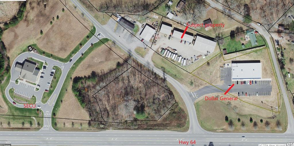 COMMERCIAL property located off Hwy 64 Bus. next to Dollar General.  3 Metal buildings (5000 sq. ft., 3000 sq. ft. & 2000 sq. ft.).  All currently occupied. Large building offers a large open warehouse area, a retail area with a restroom, break room and additional office. Middle building has office space and restroom. Seller has current mortgage that is assumable.  Due date of current note is Aug. 1, 2023.