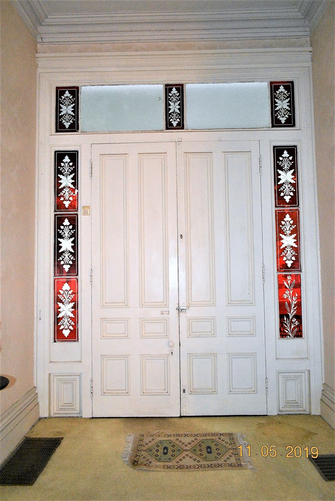 Front Door with Ruby Glass