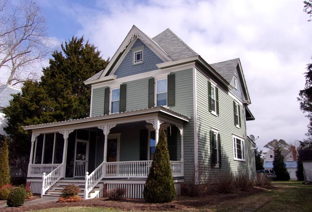Updated and spacious 2 story home in the heart of Onancock, on Virginia's Eastern Shore.  Close to all town amenities: Theatre, Restaurants, Shops, Galleries, Town harbour and boat ramp, Bake shop, and more.  Good working kitchen with open concept.  Bonuses include: on-demand hot water heater, fenced back yard with brick patio, original pine floors, fireplace, ceiling fans, NEW Central A/C, wrap-around screen porch, laundry/utility room, energy efficient windows, and much more.  About 3 miles to Riverside Shore Memorial Hospital a local state-of-the-art hospital.  Convenient to some great Chesapeake Bay fishing and boating.  This is a great time to invest in your future.  Enjoy the peaceful coastal life/style you deserve.  Call today to schedule a time to view this fine home.   Great Value