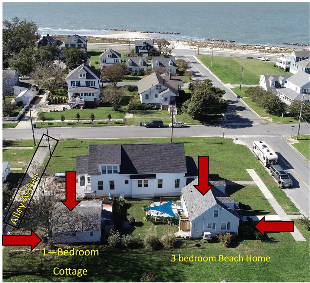 """TWO (2) BEACH HOME(S). REALLY, TW0 2 FOR THE PRICE OF ONE!1 CAPE CHARLES'S HISTORIC DISTRICT 1-1/2 BLOCK TO THE BEACH!! FULL SIZE LOT. Completely furnished, tastefully decorated & well maintained. These 2 - Beach Homes are ready for your summer fun or vacation rentals. (2) TOTALLY SEPERATED BEACH HOMES! A 3- bedroom 1- bath for the main house. And a 1-bedroom 1 bath- newly renovated Beach Cottage w/ it's separate access and parking. This full size lot gives plenty outdoor space for both house.& cottage. Enjoy beach living in"""" Pelican Watch"""" while benefiting from rental income from the """"Pelican Nest"""". """"First Floor Living"""", low maintenance exterior, fenced in back yard, separate outdoor space for each, many updates, new roof, updated HVAC, windows & new outdoor shower. Can be found on VRBO."""
