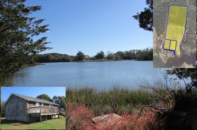 This small water front home sits on over 36 ac with over 600 ' on Underhill Creek which leads to the Pungoteague Creek and then out to the Chesapeake Bay. Property is subdivided into 3 parcels Lot D, E and F. Lots D & E (2.5 acres each) have water front rights across the access road. Small home sits on parcel F with an additional 31 acres. Home currently used as a rental. Open land is leased for farming. A/C unit, heat pump & all  duct work installed in 2016. Roof was replaced in 2018. You don't see undeveloped waterfront farms come on the market very often. Would make a wonderful hunting club, equestrian, or private spot with investment potential for the future. Lets talk about the possibilities.