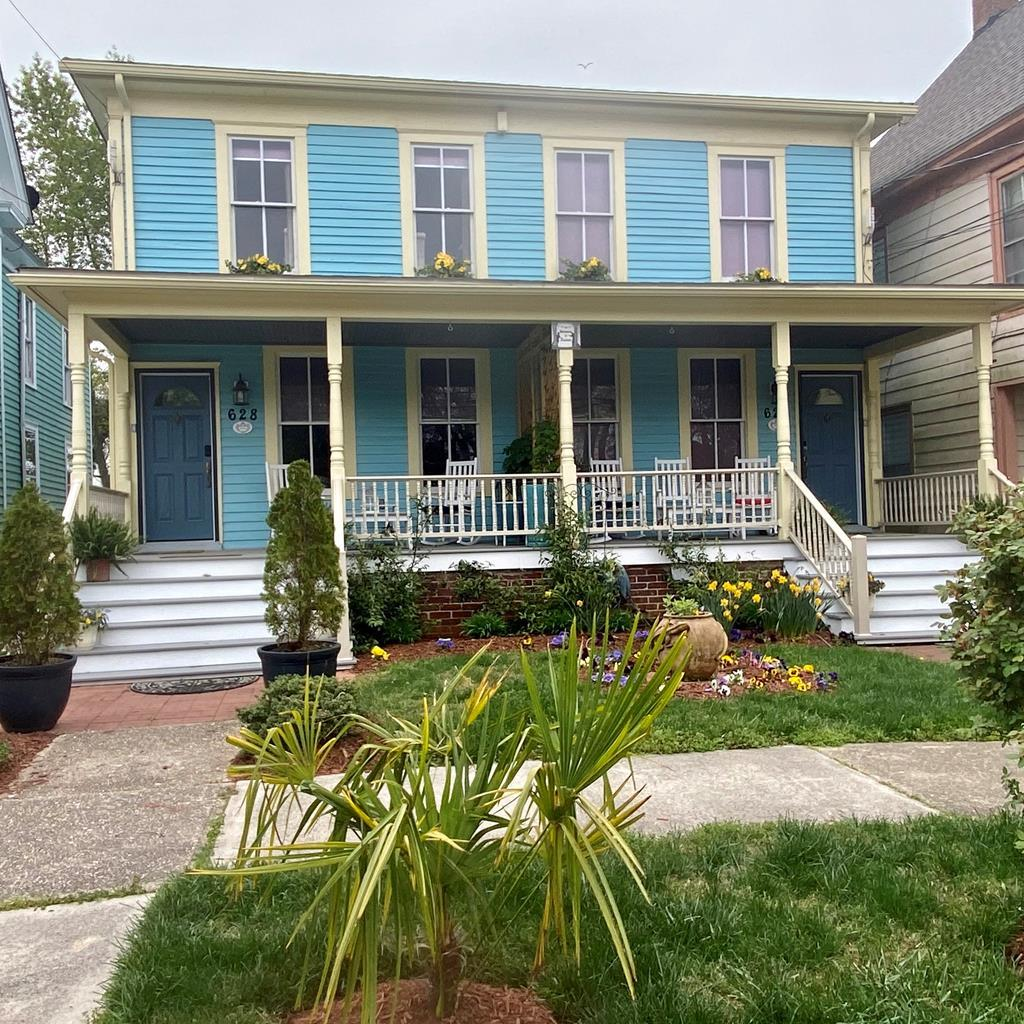 Completely renovated duplex in the heart of charming historic Cape Charles, Each  side  mirrors the exact same floor plan with comfortable living room,dining room, kitchen  and 3 bedrooms upstairs..Romeo and Juliet ( whimsically named by owner) is sold completely furnished & is a  successful vacation rental property &  turn key investment opportunity.Attractively  landscaped with  fenced  backyard offering privacy screens with vintage stained glass, upstairs balcony on each side. Numerous updates include new electric, new HVAC units, new kitchen, new floors, new claw foot vintage tubs, new decking front& back, new shed. Tastefully furnished with flat screen TVs in all bedrooms, including LR. Located  within walking distance to  beach, shops, restaurants and marina.