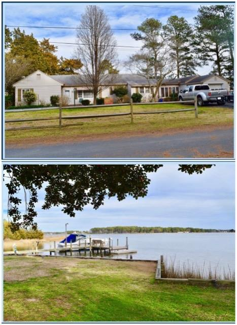 LOCATION LOCATION with this two lot parcel totaling over .66 acres in East Point Onancock VA. Three bedroom Beautiful Rancher with over 300 feet of bulkhead on Parkers Creek. (Chesapeake Bayside)  Some home features include an attached garage, large Brick fireplace, Oversized Den, Dining Room, Enclosed Porch, Patio with Hot Tub overlooking the water, & Bonus room off the garage.  A GREAT property for a BOAT and it comes with your protected private boat slip. This is the perfect place for quick town, beach, and marina access.  A nice  solid home. Excellent Crabbing and fun with watersports such as Jet Skis, paddle boarding etc. The lot has a nice high elevation. Oversized Fenced Back Yard. Only 5 mins to the hospital and shopping/restaurants.  New Trane Heatpump System. APPRAISAL On Hand.