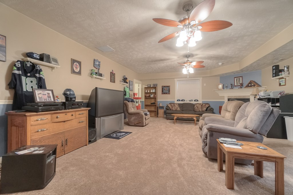 Large family room with high basement ceilings