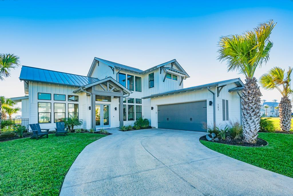 Amazing custom home w/upgraded features. This is a 3b/3.5b/2.5 car. It has family bonus room w/wet bar, bev fridge & doors out to covered patio overlooking canal waters. Upon entering the home, you notice expansive windows along waterside, giving it a spacious feeling. This custom home was specifically designed by the owner, who is a high-end interior designer in Texas. A custom designed floating staircase to the spacious gourmet kitchen overlooking the living room & vaulted ceilings and fireplace. The picturesque outdoor living space is ready for entertaining! The inviting custom designed pool, boat dock, fire pit area & room for seating under the covered patio will be the most popular part of this home. Master bedroom is located downstairs with beautiful walk in shower and huge master closet that also opens up to laundry room. There is also a Second Master bedroom upstairs with a beautiful en-suite bathroom. Reserve: Resort pool w/cabanas, Hammock park & 400 ft pier.