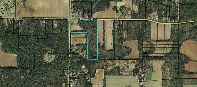 Here is almost 24 acres just a few minutes from schools and shopping. Property sits on the corner of Hall & Crowley Road. Lot of possibilities from farming to a subdivision. Parcel# 044 085