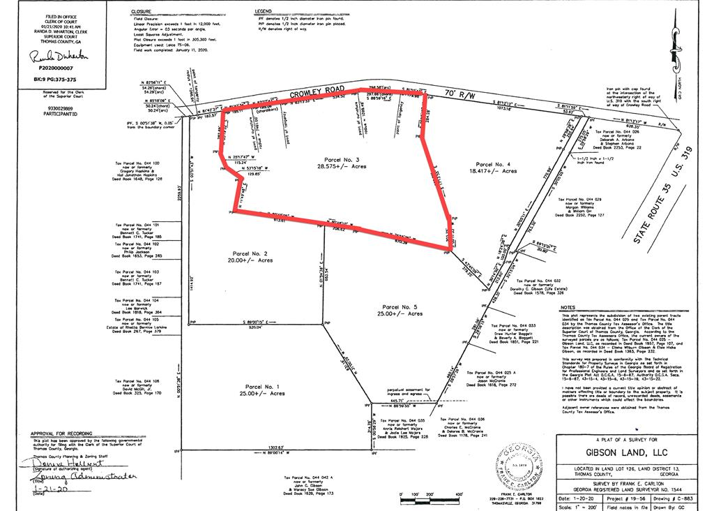 Smaller parcels of land with 2500 sq ft restriction for residential only.  Pond sits on one parcel and the rest are ready to go.  Parcel Number 5 and Number 1 have their own drive to be deeded with the parcel.  County approved survey in file.