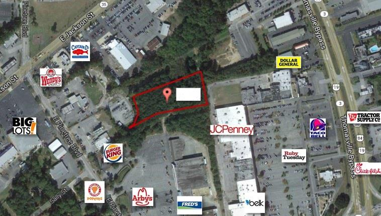 GREAT INVESTMENT!!!2.43 Acres Commercial Land, Zoned C-2 Investment Property on E Pinetree Blvd in Thomasville, Ga. It is next to the Roses Shopping Center behind Gateway Shopping Center. Perfect to build a Storage Facility, Retail Shop, Restaurant, Garage, Repair Shop, Car or Storage Lot. Call today!!!