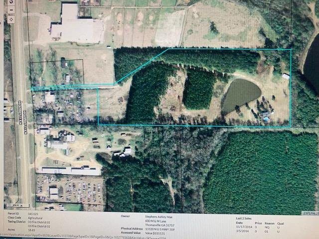 Come have a look at this property [19+/- acres] as this area is in a growing stage with the new Industrial park just down the road  put's this parcel in the right spot .  With all that is happening on this side of town Future land use maps show that this is the way that Thomas County is headed so come have a look and let's talk . Survey will be done at time of Contract .