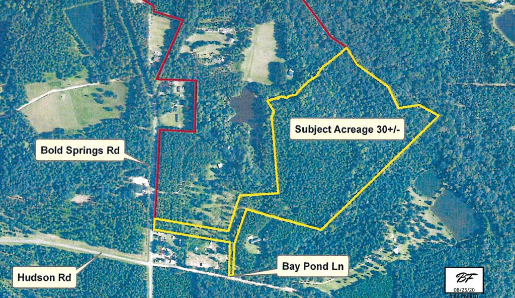 This property is a portion of and existing parcel of land. A survey will need to be made to determine the exact acreage and boundary. The Adjacent home at 1810 Bold Springs Rd can be purchased and is currently listed if someone wanted more acreage with a home and pond.