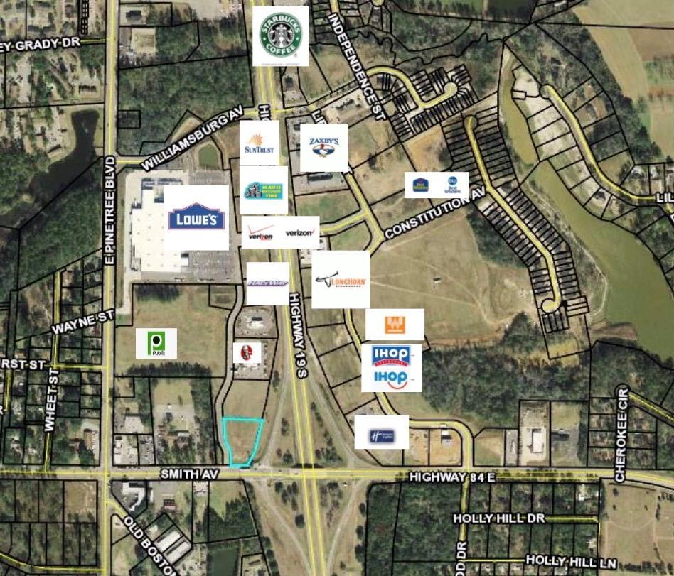 Outparcel in front of Publix, prime Location for Thomasville Growth.  Lots of possibilities for future use.  Established neighboring businesses with Lowes and Publix as an anchor.  Located on side road to Publix Supermarket with Visibility off of Us Highway 19 with great traffic count