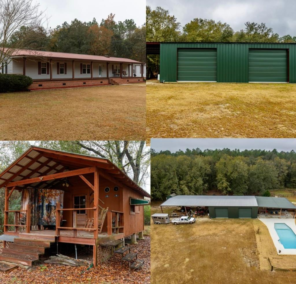 68.77 Acres with everything you could ever want!!!!!  Home, guest house, pool, barn, shop, fenced pastures, round pen, livestock shelter, ponds, gated entrance w/ electric gate, and beautiful woods FULL of wildlife!!!!  Home is a 2002 Fleetwood with all new kitchen appliances in 2017, Leisure Bay Pool table, 2017 hot tub w/ 32 jets, waterfall and changing lights.  The pool is a 15 x 40 gunite saltwater pool installed in 2019 and tanning deck, bubblers, side seats, and auto fill/drain for perfect water level.  There is a 40x40 covered entertainment area with includes 12 x 24 pool house with 1/2 bath.  Other features include gazebo with swing, fan and light as well as a 40 x 100 pole barn with concrete floor and 12 x 12 roll up doors, 30 x 30 pole barn in pasture area with 8 x 10 metal tack room.  Guest house is a 1BR/1BA cabin overlooking a stocked pond.  Main home also has a Hydro Quad whole house soft water system.  Too many upgrades to list......Make a appointment today!!!!