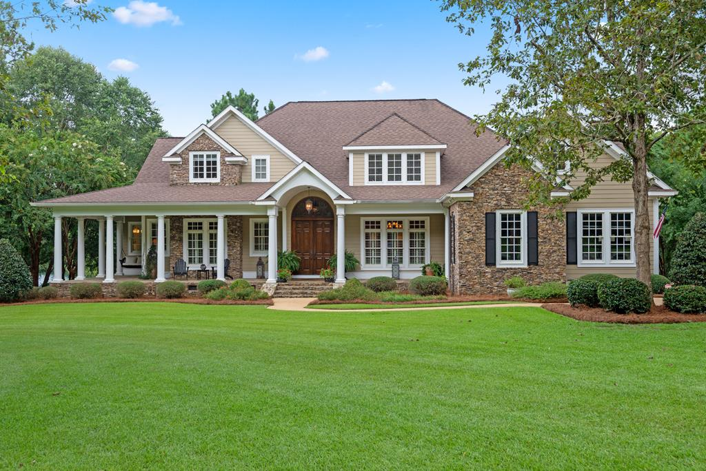 This beautiful custom-built, pond-view home is located in one of Thomasville's most desirable southside neighborhoods, Pebble Creek.  Convenient to schools, downtown, hospital and an easy drive to Tallahassee, this 4 bed/5.5 bath is almost 5100 sf & features numerous upgrades throughout. Main floor rooms include study w/coffered ceiling, formal dining room, great room w/vaulted, beamed ceiling & gas fireplace plus easy access to deck w/fireplace overlooking pond. Additional main floor rooms include gourmet center island kitchen with Viking gas cooking and commercial sized refrigerator/freezer, over-sized breakfast room leading to the screened in porch, and huge laundry room by the Friend's entrance. The main level master suite has numerous windows, access door to deck and luxury master bath. Top notch construction includes high quality windows, hardi-siding, stacked stone, extra insulation and utility room in the crawl space suitable for storage.  Call today to set up your appointment.