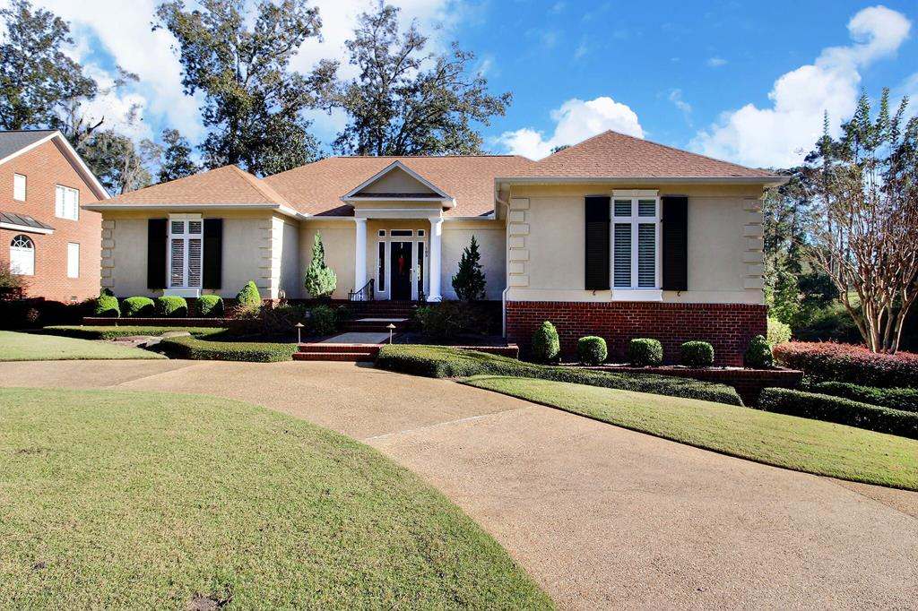 House sits on the 16th green of Glen Arven Country Club. The view is magnificent while sitting in the sunroom, kitchen, Master bedroom or the back covered patio and deck.  House can be 4 bedroom but currently three bedroom and office.  Eat in kitchen with extra storage and top of the line appliances. Large formal dining room. The basement has 3 garage bays plus golf cart bay and workshop areas. Park in the garage and TAKE THE ELEVATOR up to your one story living area. A must see.