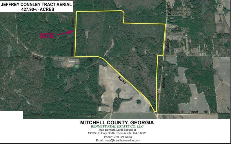 """Connley tract located in Mitchell county has  a lot to offer. 430 +/- acres with good timber, excellent soils, and abundant wildlife. Tract has established road system and 40+/- acres in food plots. Tract is surrounded by irrigated farms, and it borders a 1000 +/- acre D.O.T. wetlands bank (sanctuary). Improvements include a nice 3 BR/2 BA double wide in excellent condition, two 4"""" wells, and a storage building. This is a Turn Key tract."""