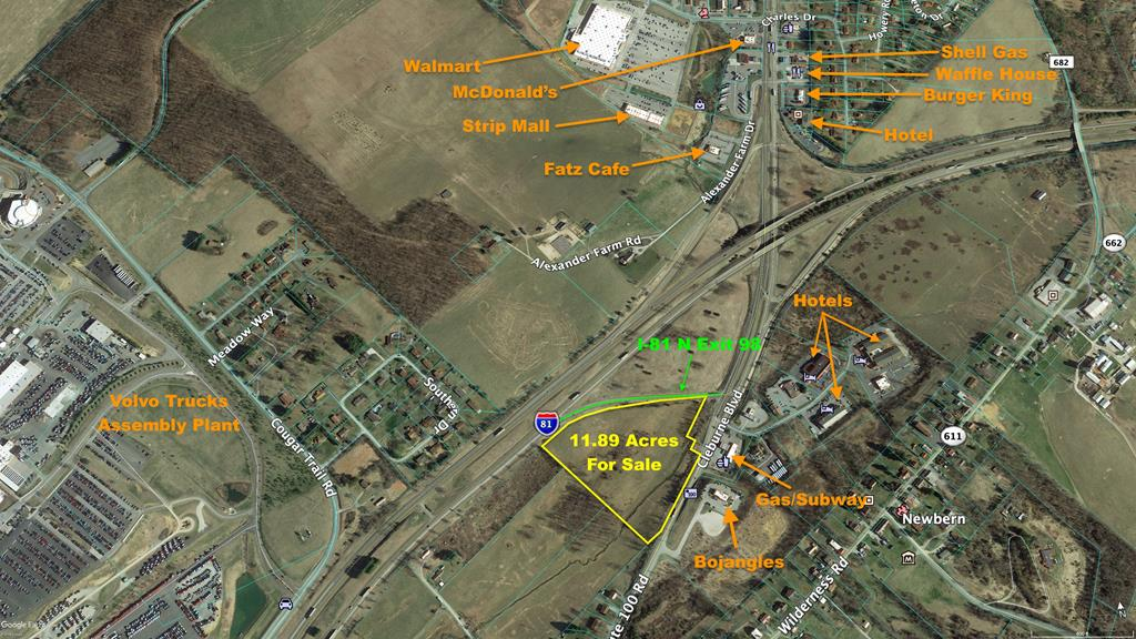 This nearly 12 acre lot is a premiere commercial property right in the middle of Dublin! Directly off I-81 Exit 98, this gives the property unparalleled visibility, with viewpoints from both the interstate and the major highway. A stones throw from the shopping hub of Dublin as well as downtown, it is a great spot for travelers and locals alike. Priced well under tax assessment, this property is priced to sell and ready for your business acumen. Schedule a showing today!