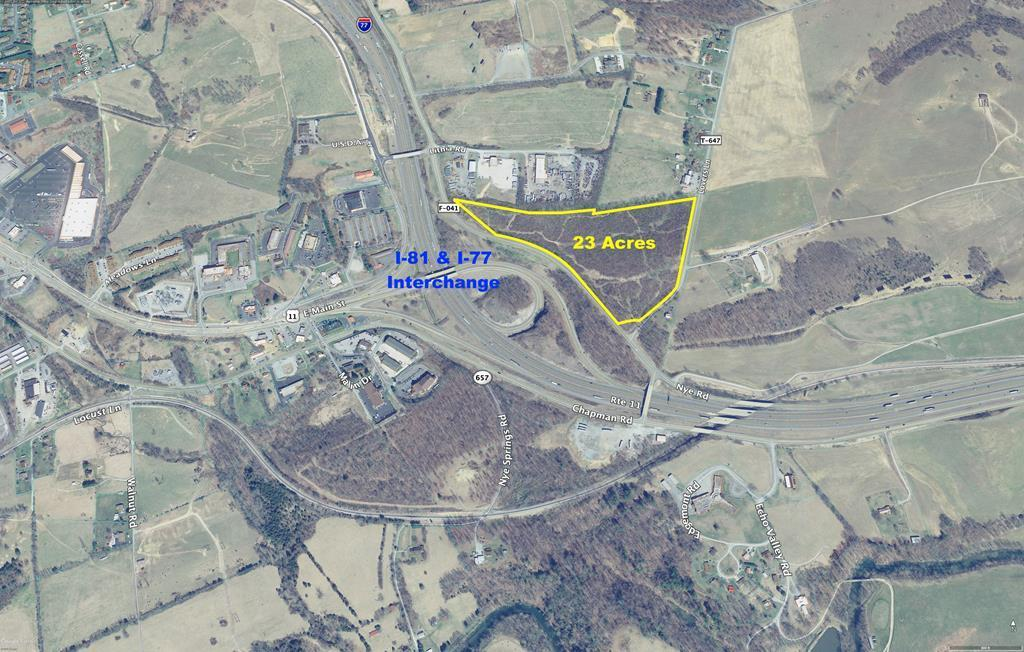 One of a kind industrial property in the town of Wytheville. Over 3500 feet of road frontage, easy access from exit 72/73 on I 81 and exit 41 on I 77. Great visibility from the interchange of both interstates. The property boarders existing manufacturing and industrial facilities and has road frontage on 2 separate roads. Public utilities readily available on Nye road. Call today for more information!