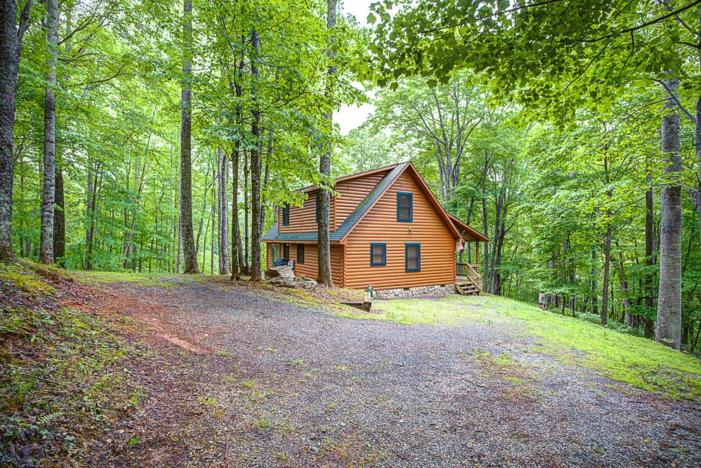 Quaint Cabin nestled in the Woods in Hidden Valley.  Home is located on 4.35 mostly Wooded acres with nice Views of Buck Mountain in Southwest Virginia.   Features include Master Suite on main level with Walk In Closet, spacious Master Bath with Corner Jacuzzi & Shower, Laundry with 1/2 Bath, Open Kitchen/Dining/Living with spectacular Views, Second Level has one 1BR/1BA, Loft with pull out Sofa for additional Sleeping.  Enjoy the Summer Breezes in the oversized Rocking Chairs while sitting on the Covered front Porch.  The privacy and tranquility will put you in another frame of mind. Home is being Sold fully furnished.  Enjoy the Common Area Lake!  This is a Hidden Treasure!  Buyer to Verify Square Footage.  HOA fees includes Road Maintenance and Lake access and common areas.