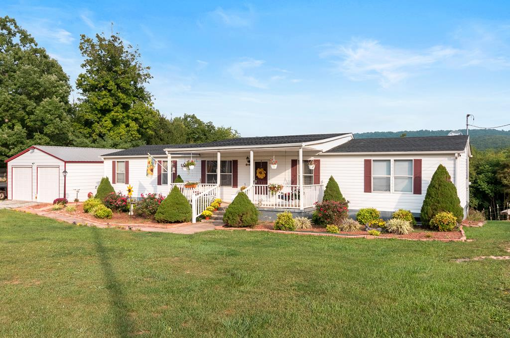Enjoy life in the country yet only minutes to I-77 and I-81. Plenty of room in this 3 bedroom, 2 bath home with open kitchen, dining, living room, laundry, large family room with gas log fireplace sitting on 5 acres.  Large 22x30 detached garage gives plenty of room for the vehicles, storage and workshop.  Connected by a covered breezeway making it very convenient. Many upgrades including the flooring, new master shower, new double vanity, new french doors, new roof and water heater in 2017, heat pump 4-6 years old, new well pump in 2019.  Home use to be on a community well but has it's own well and shares with one neighbor.  Covered front porch to enjoy all the birds and wildlife and lots of decking in the rear with a pool.  Enjoy the mountain views while swimming.  The current owners have a horse on the property.  This home is ready for a family to start enjoying or a vacation get away.  New River & Trail as well as Claytor Lake not far away. 35 minutes to N Carolina, 1 hr to Roanoke